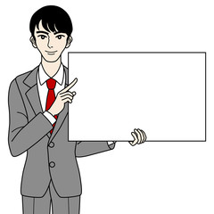 Businessman with white board ,Waist Up