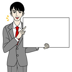 Businessman with white board -speak-