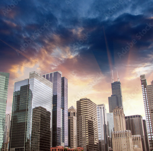 Skyscrapers and Skyline of Chicago, Illinois - USA