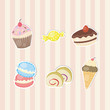 Cute sticker of sweets and candies collection