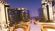 The city-mirage in weightlessness. 3D animation flight