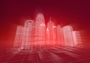 Wire city abstract background