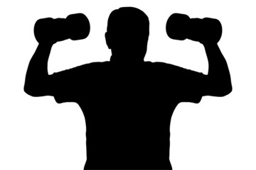 A silhouette of a man lifting up dumbbells