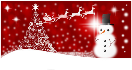 Christmas mir Schnee und Schneemann