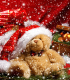 A cute and cuddly teddy bear on a Christmas background poster