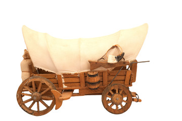 Wooden cart with sackcloth top