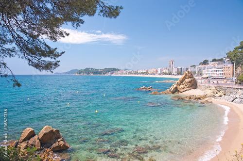 canvas print picture der beliebte Badeort lloret de Mar an der Costa Brava