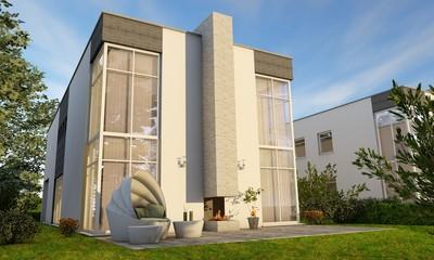 moderne Villa mit Glasfassade