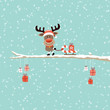 Rudolph On Tree Pulling Sleigh Candy Cane With Gift Retro