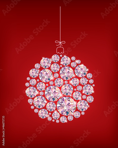 Diamond Christmas ball on red background