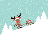 Reindeer Sledding On Sleigh Pulling Sleigh Gift Retro