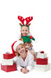 Happy santa with elf and reindeer - christmas people heap