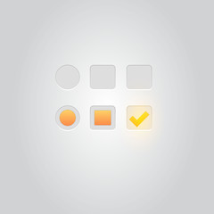 User interface elements: Buttons, Switchers, On, Off