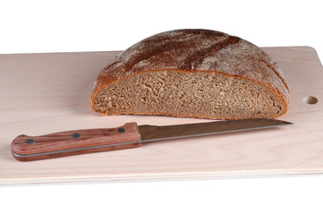fresh rye bread on a white background