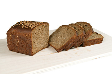 black rye bread on a white background