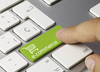 e-commerce keyboard. Finger
