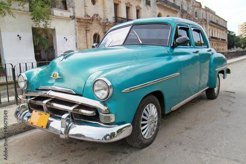 Classic blue Plymouth in Havana. Cuba. - 46679349