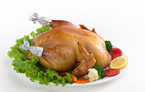 Eatable whole roasted chicken served with vegetables poster