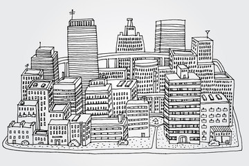 City Hand Drawn