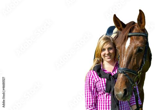 Junge Frau mit Pferd - freigestellt