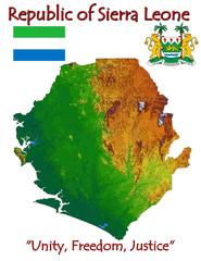 Sierra Leone Africa national emblem map symbol motto