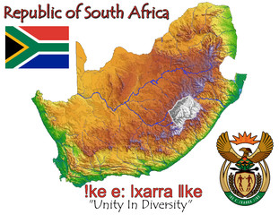 South Africa national emblem map symbol motto