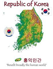South Korea Asia national emblem map symbol motto