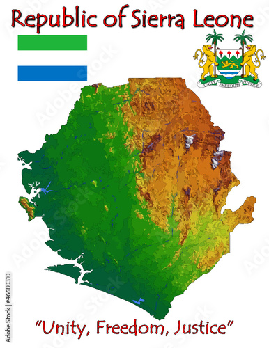 Sierra Leone Africa national emblem map symbol motto