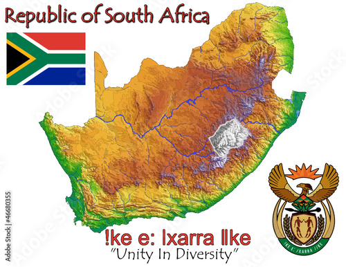 South Africa national emblem map symbol motto