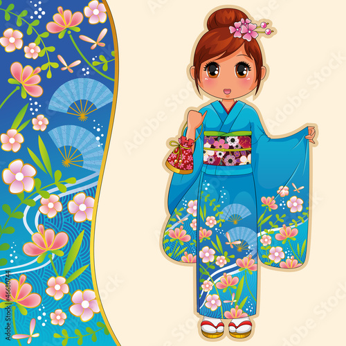 girl in kimono and a patterned banner