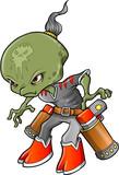 Alien Warrior Bounty Hunter Vector poster