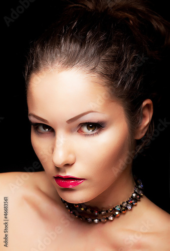 Beauty aristocratic fashionable woman looking. Beauty face
