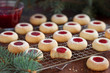 Almond biscuits with jam filling, selective focus