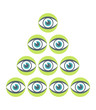 Striking eye pyramid design.