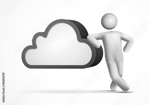 3d vector man leaning on a cloud