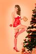 Pin Up Weihnachtsgirl mit Geschenken