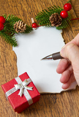 blank note with christmas decoration