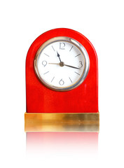 Close-up of alarm clock isolated