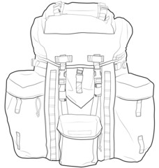 Military or hiking backpack outline vector illustration