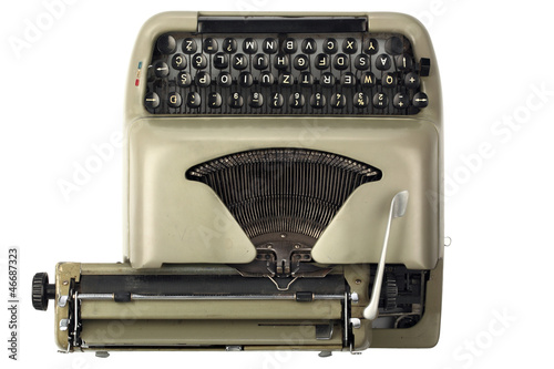 Vintage Typewriter with Latin European Keys Tilted Right