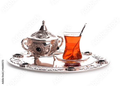 Turkish tea and sweets in decorative ware, candies