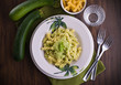 Pasta with zucchini pesto.
