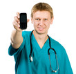 doctor  holding up a  phone a
