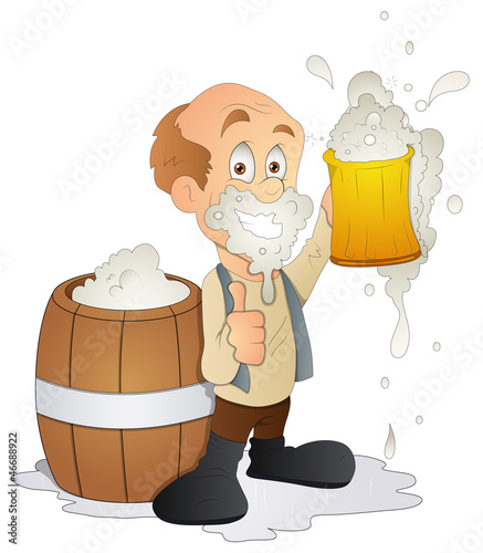 Man Having Beer - Cartoon Character - Vector Illustration