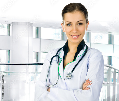 doctor woman with stethoscope in clinic