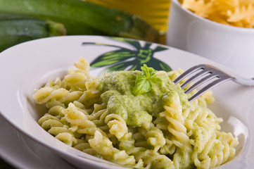 Pasta with zucchini pesto.