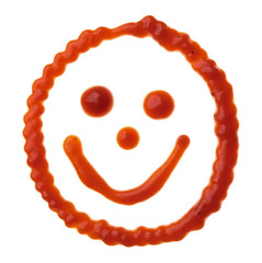 Smiley face made of tomato sauce is isolated