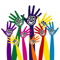 Hands with funny happy faces design.