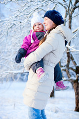 Mother and daughter outdoors on winter day
