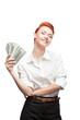 happy smiling business woman holding money